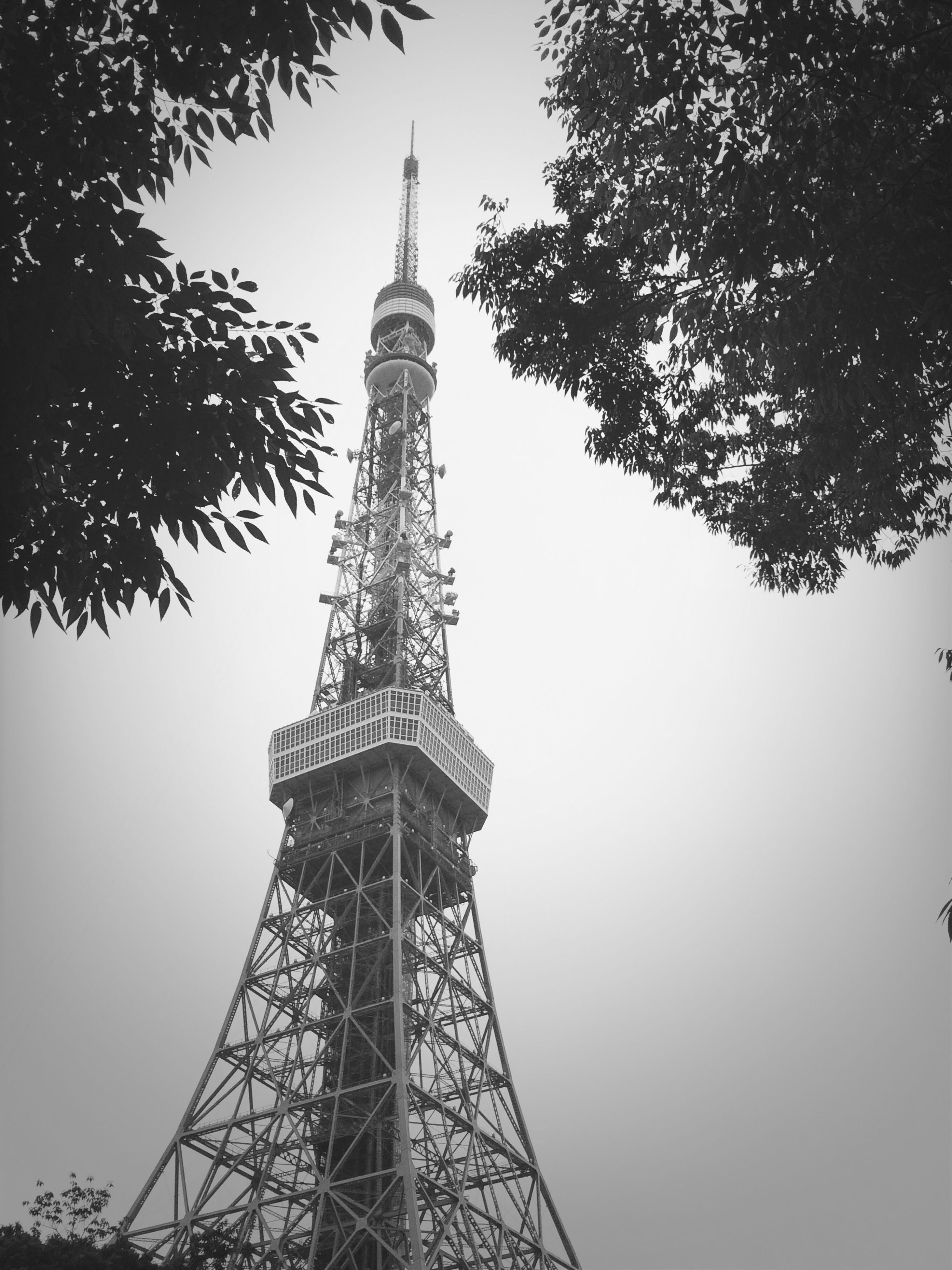tower, tall - high, communications tower, low angle view, international landmark, built structure, famous place, architecture, travel destinations, tourism, spire, capital cities, eiffel tower, travel, television tower, building exterior, fernsehturm, communication, sky, tree
