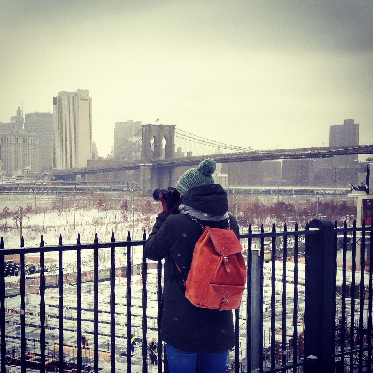 Bag Brooklyn Brooklyn Bridge / New York Foggy Grey New York New York City New York ❤ New York, New York Photographer Photography Photography In Motion Skyline Skyscraper Snow Taking Photos Taking Pictures Travel Travel Destinations Traveling Winter