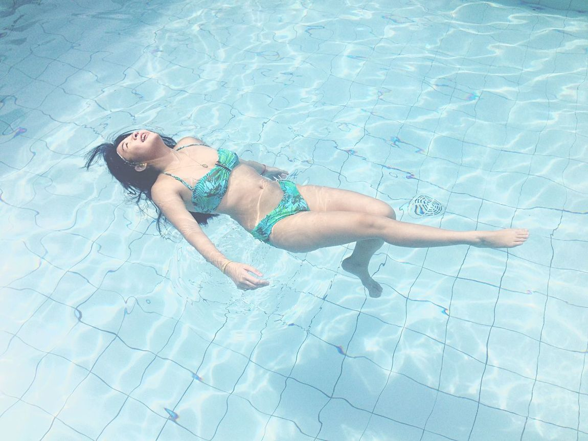 The Human Mermaid Swimming Pool Water Blue Happy Chilling Happiness