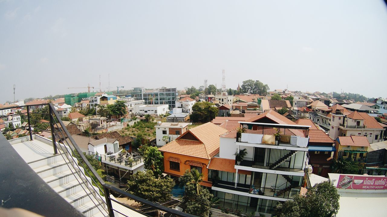 Architecture Building Terrace Cambodia City Cityscape Clear Sky Day High Angle View Hostel No People Outdoors Roof Roof Rooftop Rooftop View  Siemreap Sky Sky And Clouds Skyporn Travel Urban Skyline