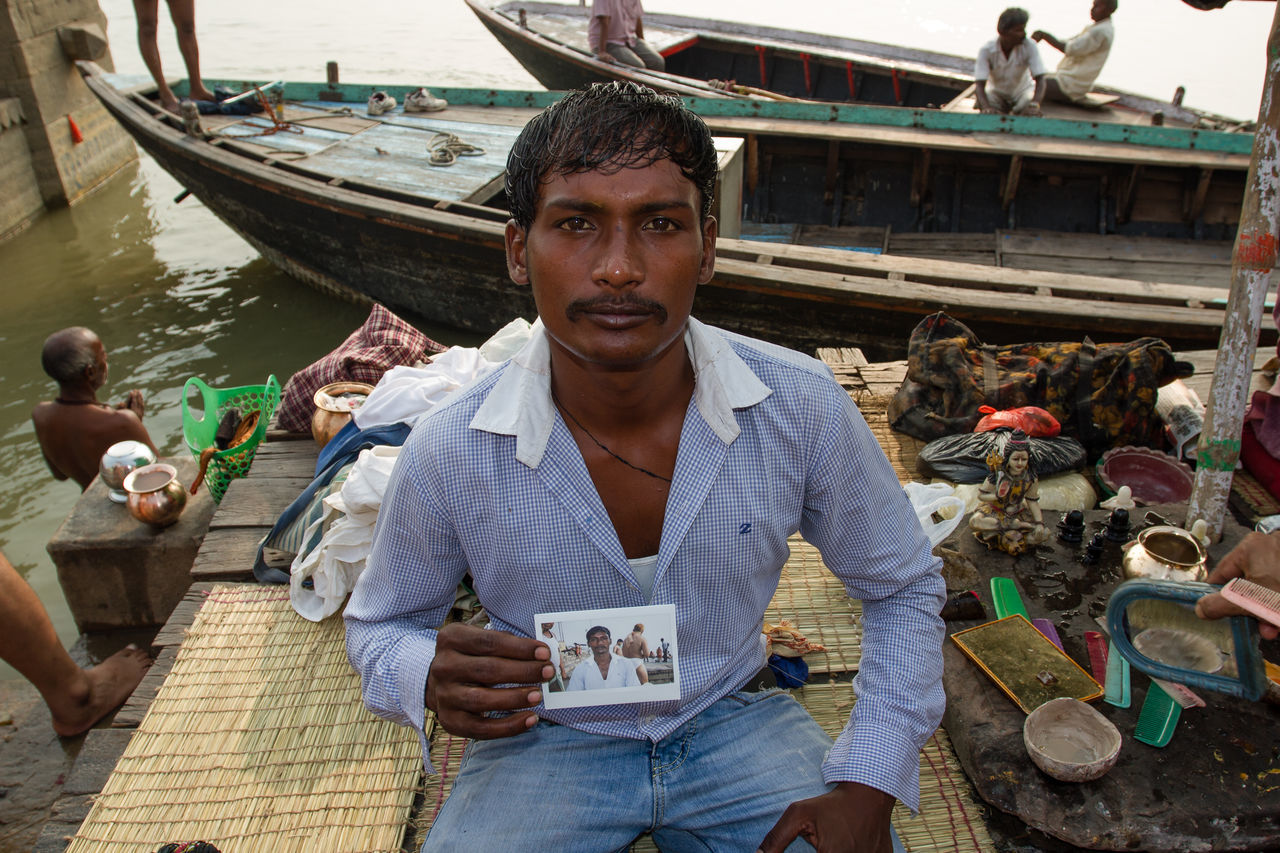 Adult Adults Only Day India Instax Outdoors People Travel Varanasi, India Ganges, Indian Lifestyle And Culture, Bathing In The Ganges,