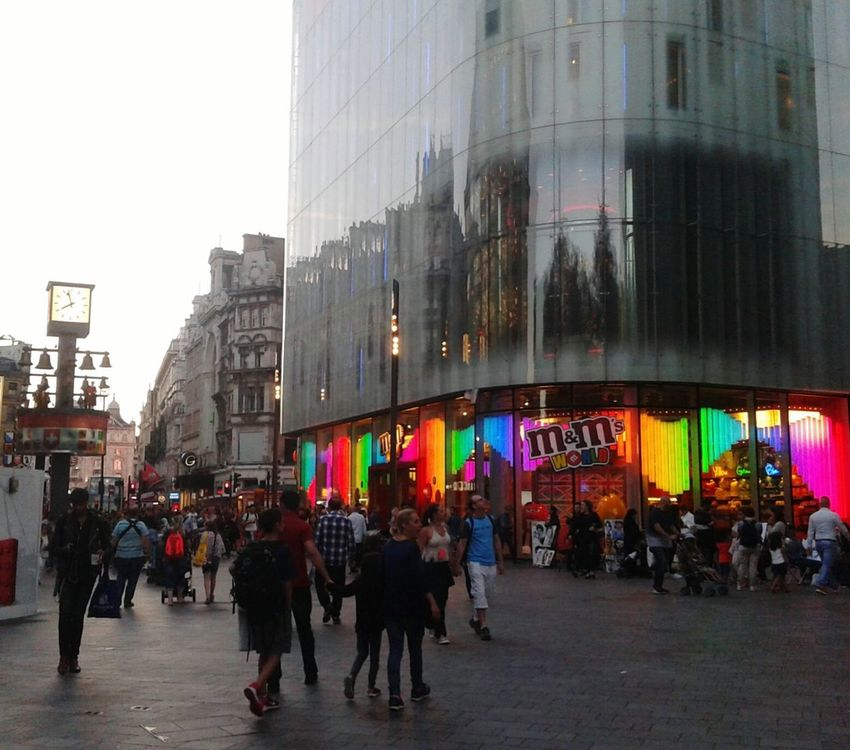 Architecture Building Exterior City Crowd Walking City Life Outdoors Day Lights M&m's World Europe Travel Tourism United Kingdom Famous Place London Summer Urban Context 2016 Photography Colors August Illuminated Multi Colored Sunsettime