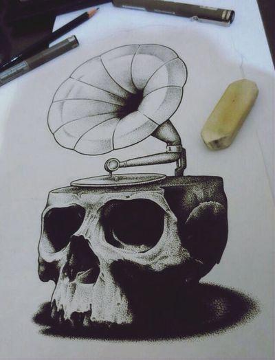 ISOD drawing Skull Drawing Gramophone ArtWork First Eyeem Photo