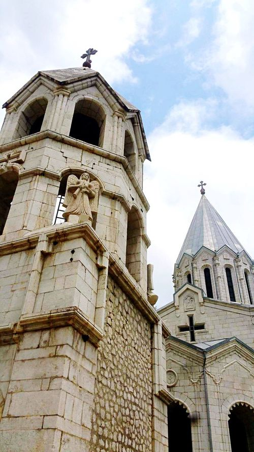 Armenian Church Armenia Architecture Religion Spirituality Building Exterior Built Structure Place Of Worship Low Angle View Cloud - Sky Sky History Outdoors Bell Day Clock Tower No People Bell Tower Travel Destinations Clock