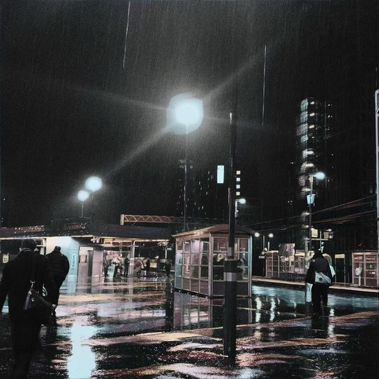 Rainy Night Night Illuminated Building Exterior City Lighting Equipment Built Structure Architecture Full Length Men Outdoors People Sky Nautical Vessel Water Cold Temperature Cityscape Adult Adults Only Star - Space