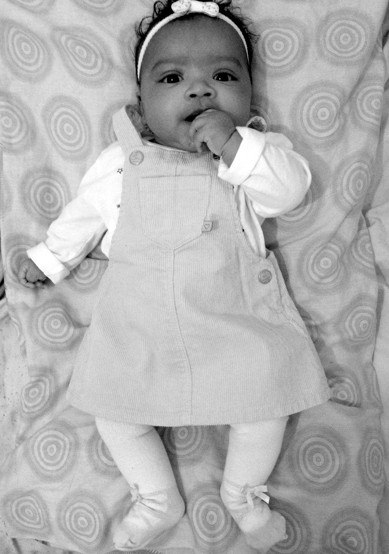 Blackandwhite Baby Princess Lying Down