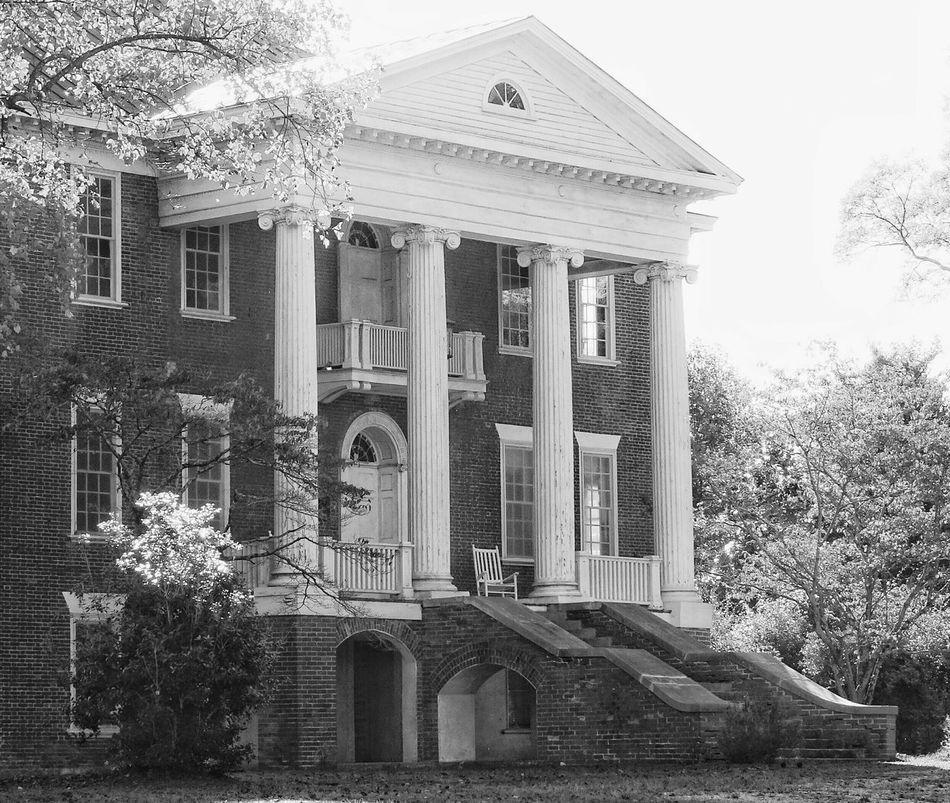 Built in 1830 ... North Carolina Architecture Ruralphotography Autumn Rural America House Historic Houses Antebellum Antebellum Plantation Manor House Blackandwhite Bnw Bnw_captures Beautiful Old House