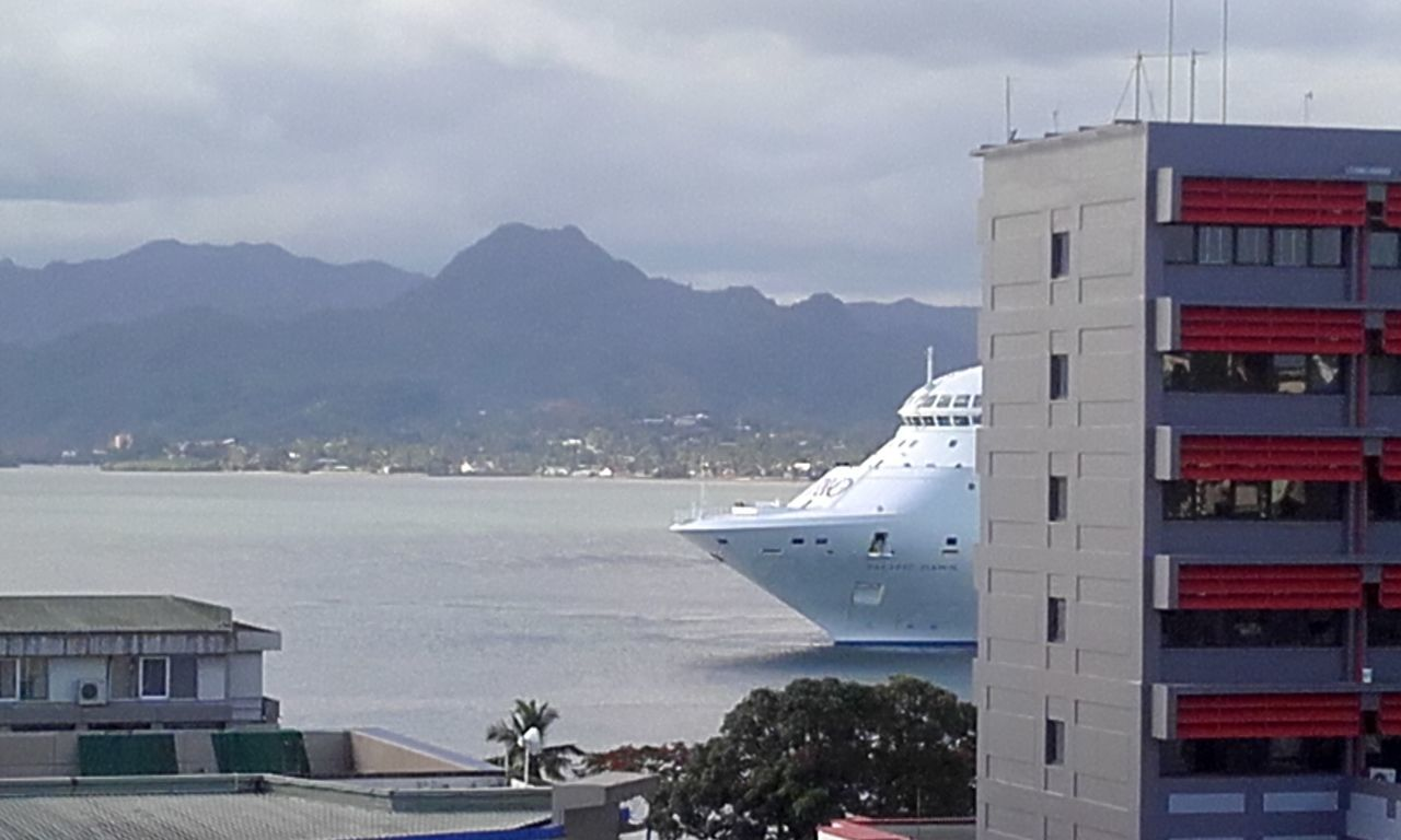 EyEmNewHere Mountain Travel Travel Destinations Mountain Range City Cloud - Sky Outdoors Architecture No People Landscape Downtown District Sky Day Cruisin Cruise Ship Leaving Port Departure Tourist Destination Tourist Attraction  Port Wharf Side Wharf Suva