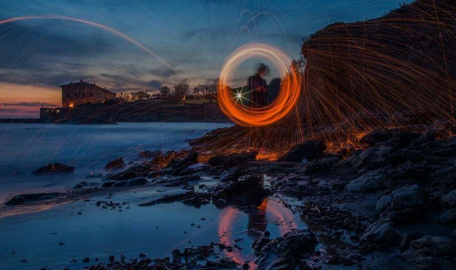Long Exposure Travel Destinations City Outdoors Night No People Light Bulb Lifestyle Lightning Light Effect Light Painting Still Life Photograpy Sea Sea And Sky Seascape Ladispoli