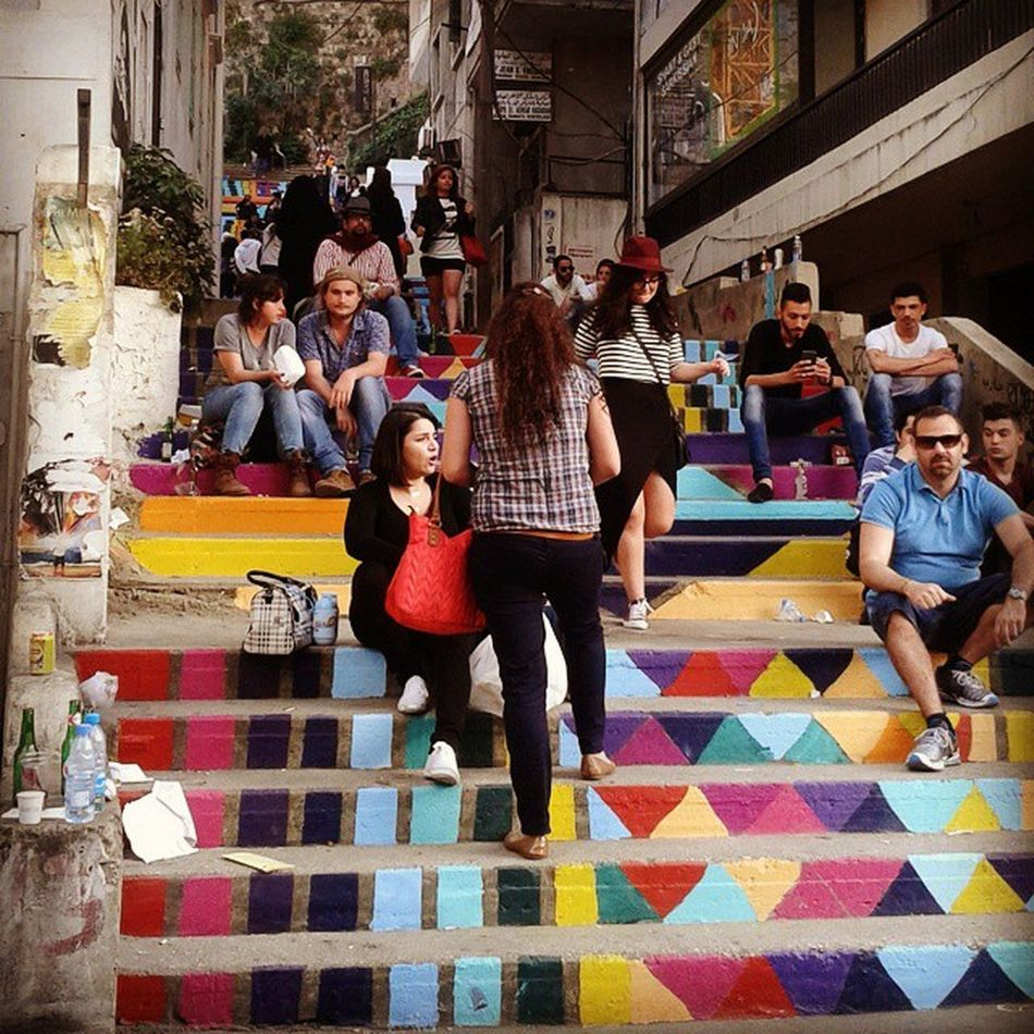 TBT  to last sunday car free day Marmikhael Achrafieh Achrafieh2020 discover armeniastreet lebanon beirut heritage colors architecture throwbackthirsday staircase