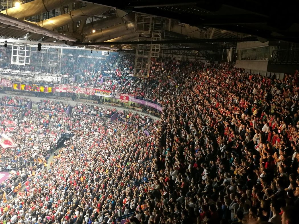 Euroleague Large Group Of People Stadium Indoors  Basket Basketball Red Star Serbia Arena Wearethechampions Fans Delije Delije Sever Ultras Ultra Win Against Cska