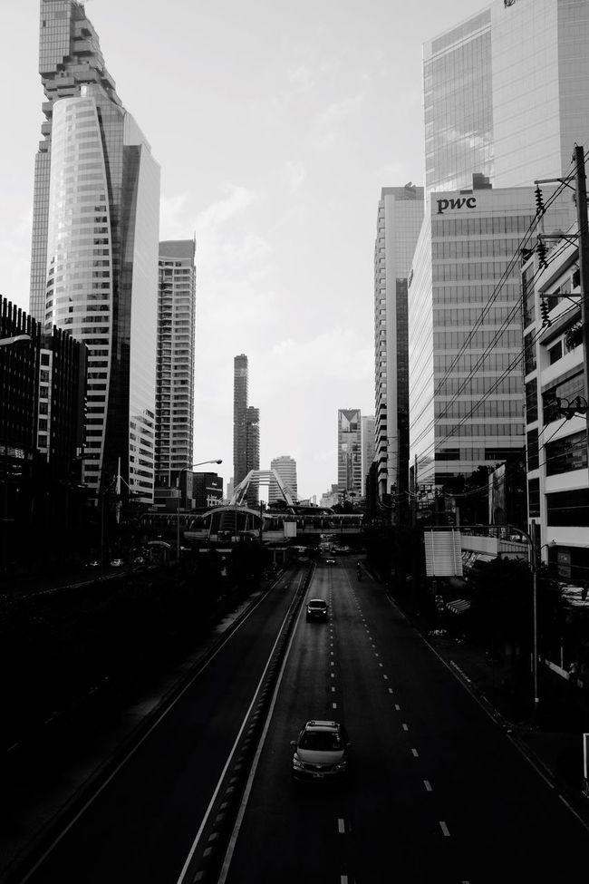 City Building Exterior Architecture Built Structure Skyscraper Transportation Street Travel Traveling Architecture Thailand Bangkok Road The Way Forward Modern No People Outdoors Sky Cityscape Day Skyline