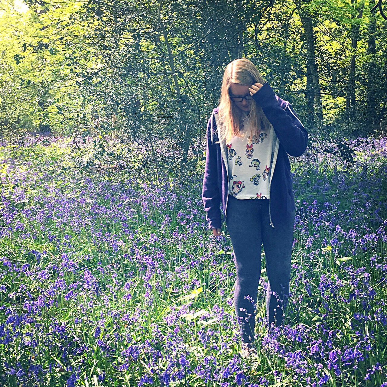 Outdoors Art Is Everywhere Plant Tranquil Scene Real People Day Flower Nature Only Women Young Adult Long Hair One Person One Woman Only Beauty One Young Woman Only Springtime Field Beauty In Nature Scenics Growth Blue Bluebells Bluebell Wood Bluebell Woods The Great Outdoors - 2017 EyeEm Awards BYOPaper!