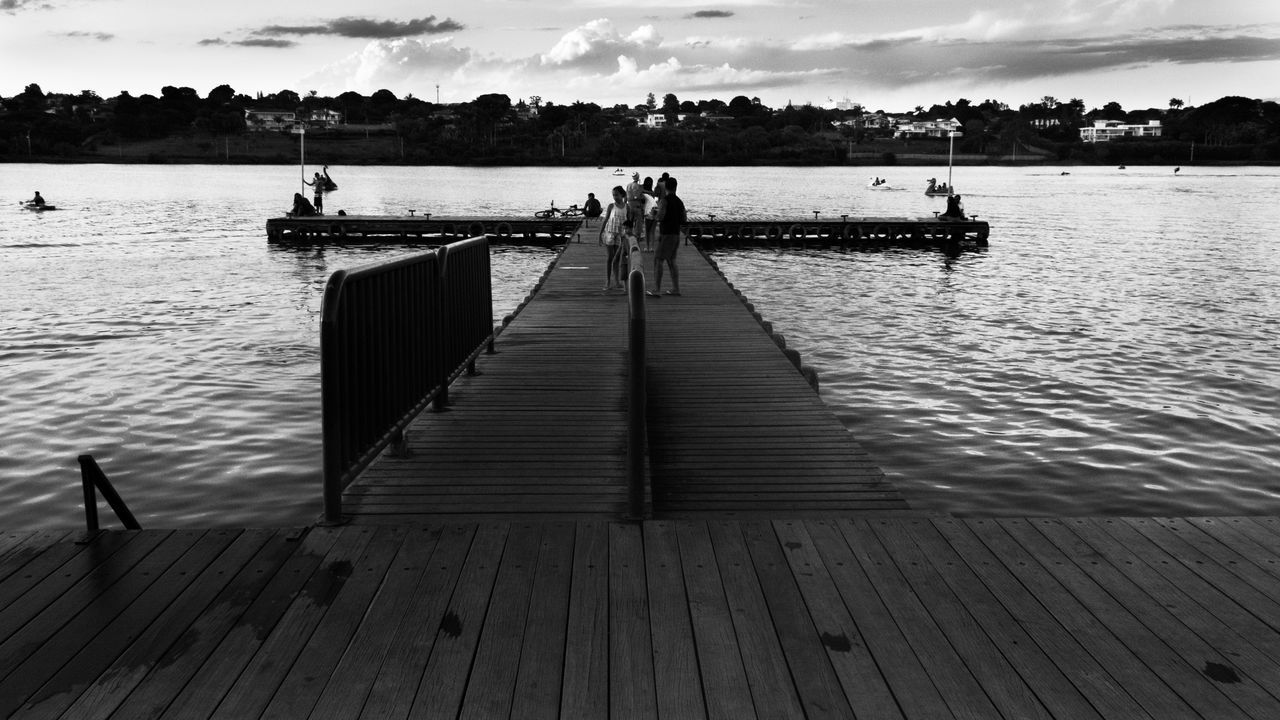 water, pier, sky, cloud - sky, jetty, outdoors, wood - material, nautical vessel, day, nature, wood paneling, lake, tranquility, real people, beauty in nature, scenics, tree