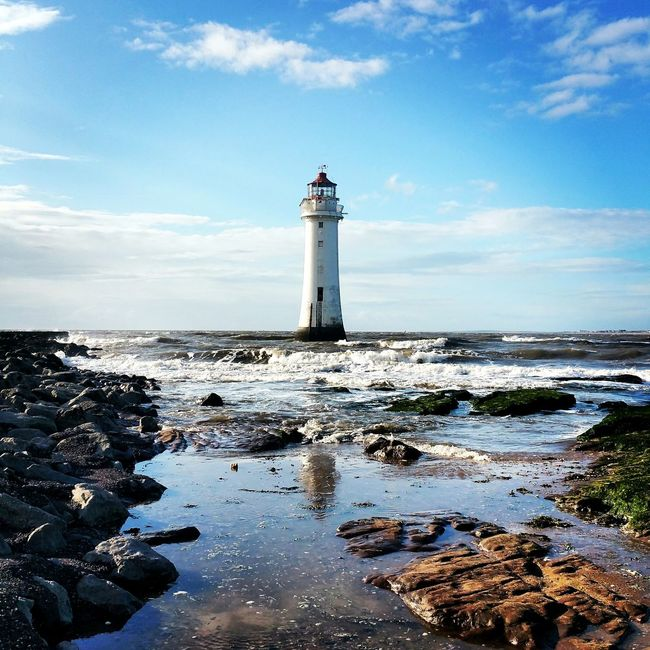 New Brighton Lighthouse Wirral Wirral Peninsula Sky And Clouds Waves Water Rocks And Water Rocks Coastline English Coastline
