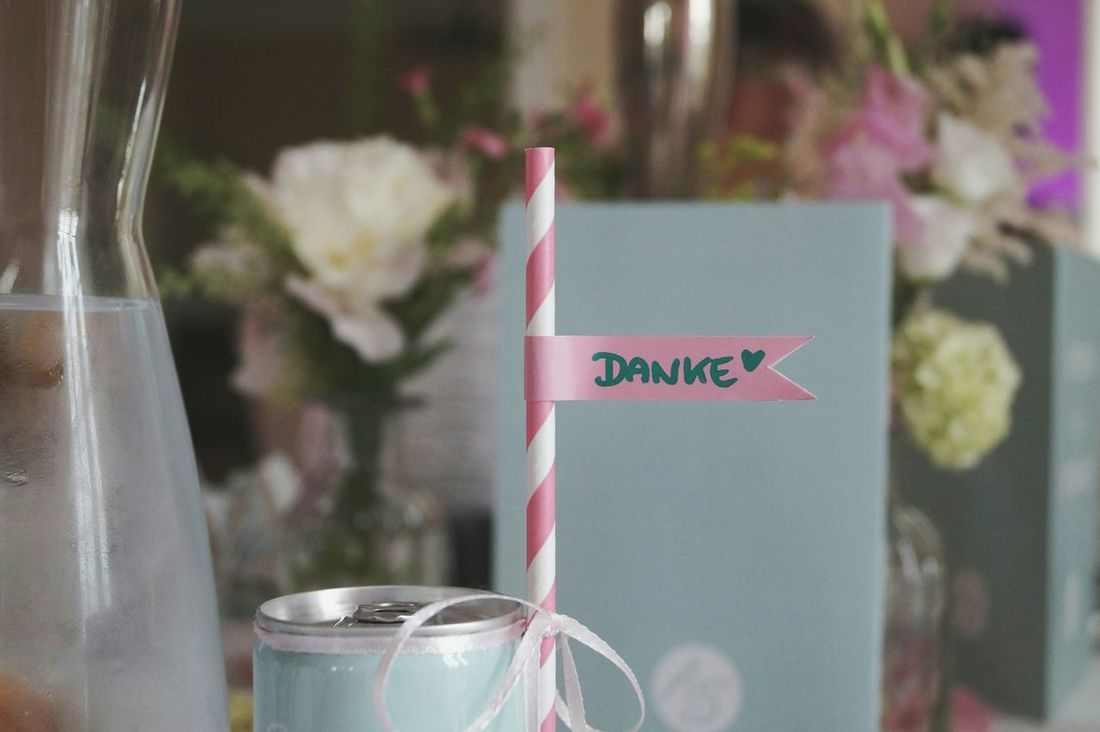 Thank you Thank You On The Table Table Decoration Typography Letters Glass Of Water Pink And White Stripes Pattern Pastel Colors Drinking Straw Cold Water Wedding Summer Wedding  Flowers On Table Menu Party Vase EyeEm Best Shots No People Full Frame Drink White Ribbons Happy Day Little Flags