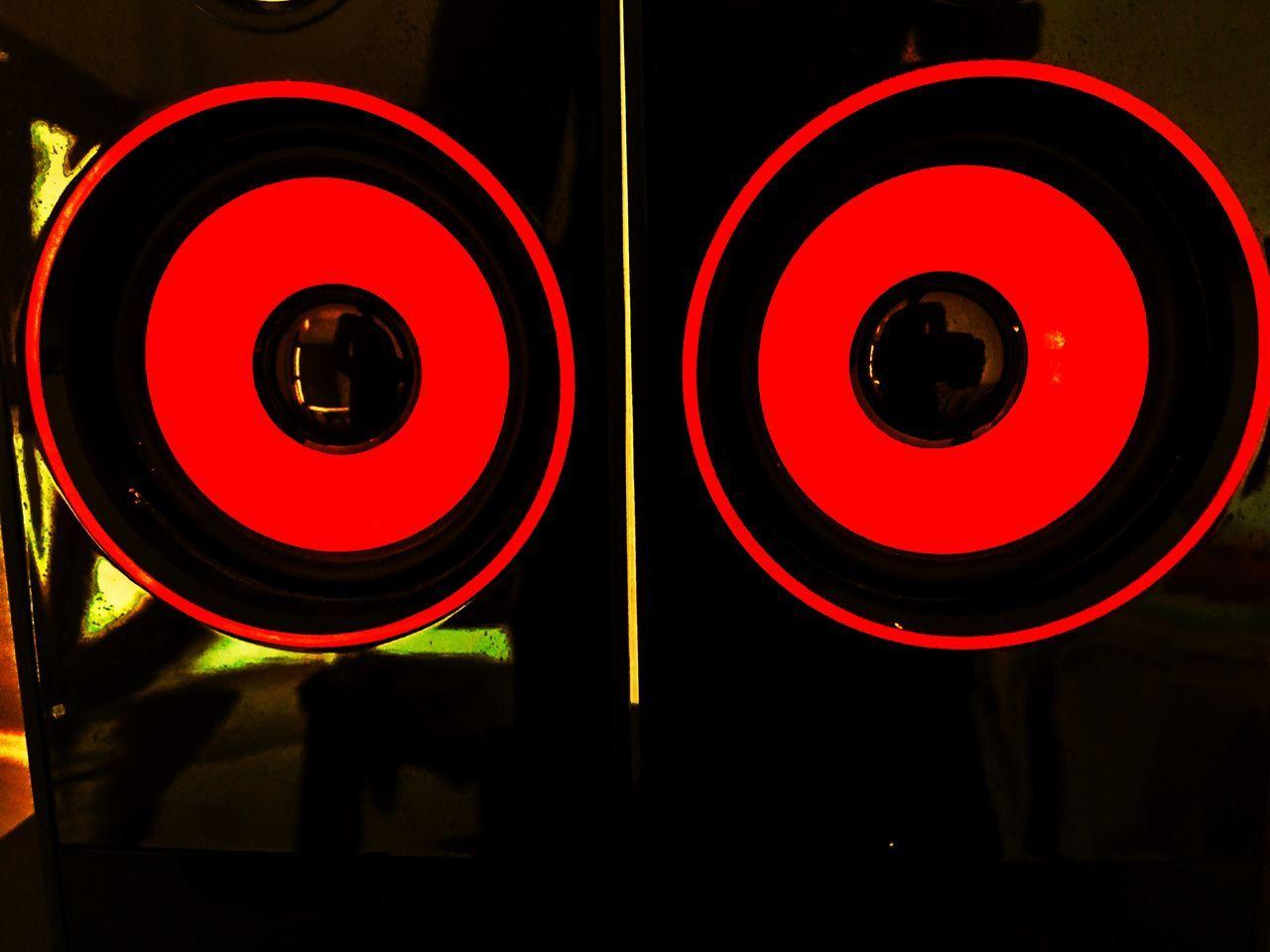 circle, red, no people, illuminated, close-up, indoors, night