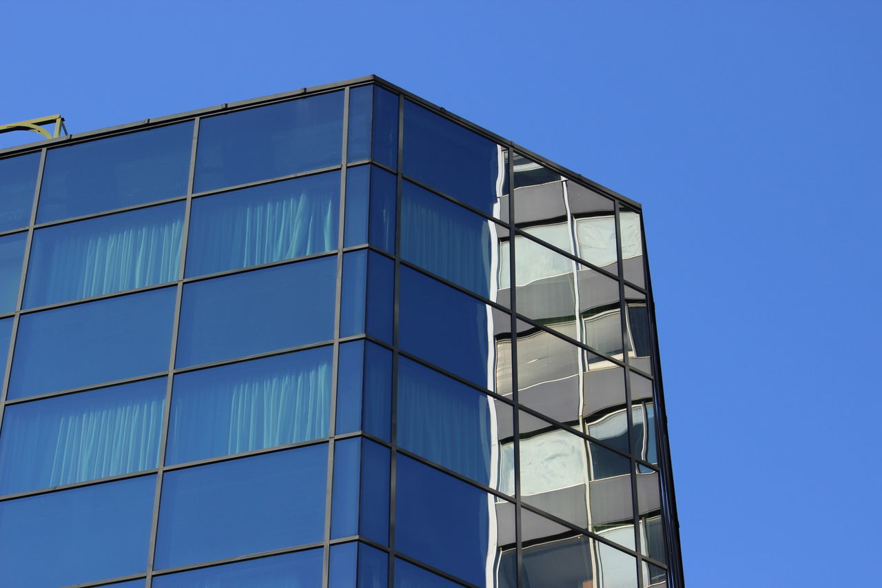 window, blue, built structure, architecture, building exterior, clear sky, modern, day, no people, outdoors, close-up