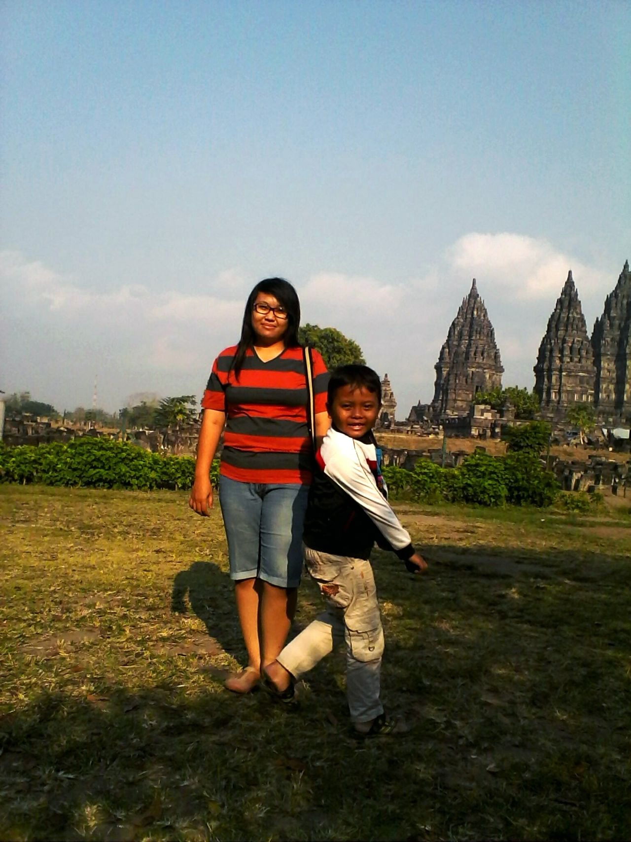 Full Length Two People Child & Adult Togetherness Family Leisure Activity Outdoors @candi Prambanan Indonesia Culture