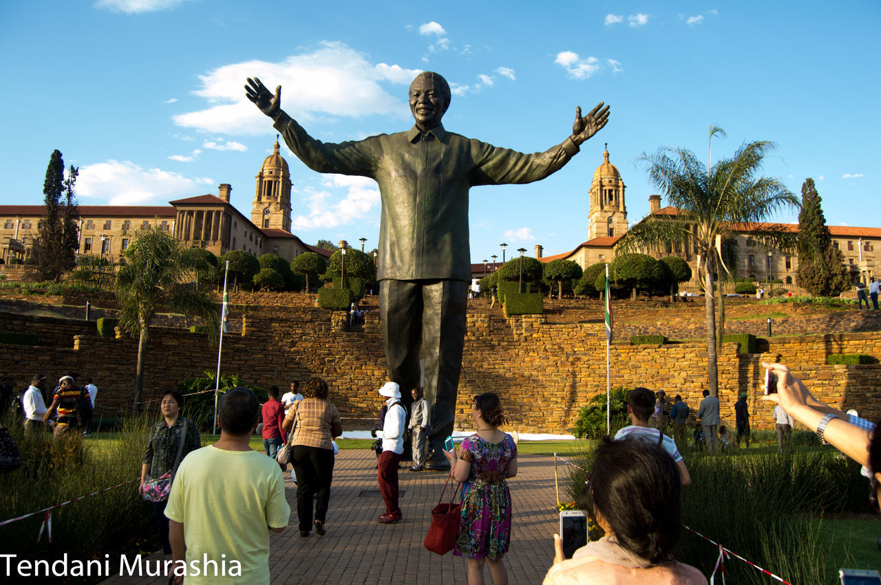 """Asimbonanga (We have not seen him) Asimbonang' uMandela thina (We have not seen Mandela) Laph'ekhona (In the place where he is) Laph'ehleli khona (In the place where he is kept)"" African Ideas Architecture Father Of The Nation Freedom Freedom Statue Great Leader Leardership Loving All Natio Mandela Monument Nelsonmandela  Pretoria South Africa Statue Torist Destination Tourism Travel Destinations Union Building Warm Welcome World Icon"