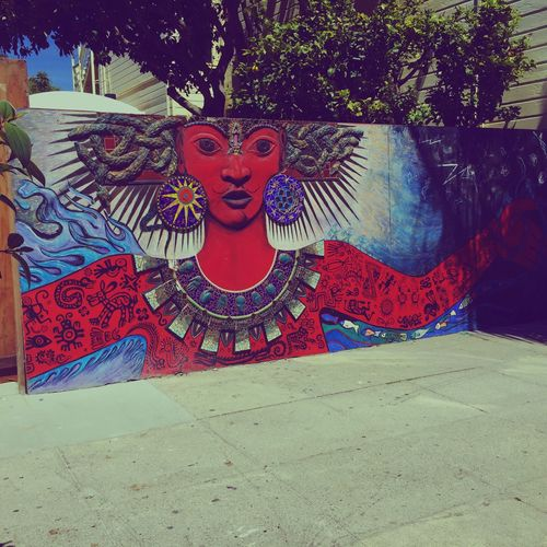 waiting for lunch. San Francisco Mural Art Mission District California Saturday