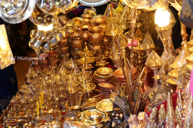 A Stall inside the Temple@Tiruchendur Abundance Brass Lamps Chennai,India Display Large Group Of Objects Paulvadivu Store Tiruchendur Temple Stall