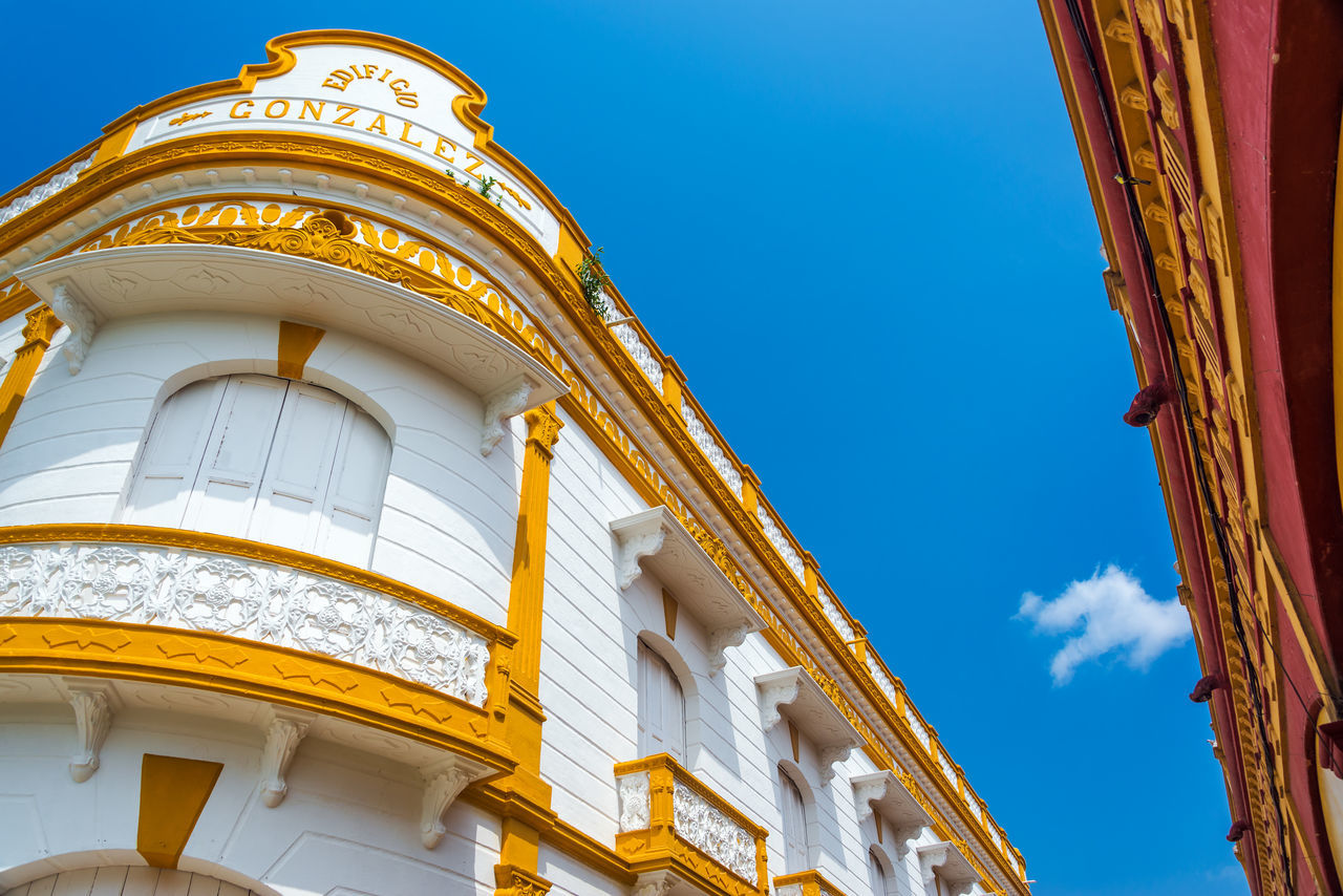 Facade of a historic building in the market in the town of Lorica in Cordoba, Colombia Architecture Blue Building Cathedral Catholic Christianity Church City Colombia Culture Córdoba Day Historic Landmark Monument Old Outdoors Religion Religious  Santa Cruz Sky Street Temple Tourism Travel