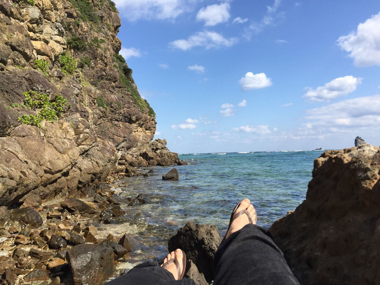 Low Section Human Leg Sea Personal Perspective Rock - Object Real People Lifestyles Water One Person Nature Human Body Part Beauty In Nature Leisure Activity Scenics Women Relaxation Outdoors Day Sky Men Winter Sea Amami Island