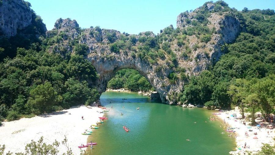 Vallon Pont D'arc Nature Pont Naturel Riviere Canoe Vacances Paysage De France Paysage