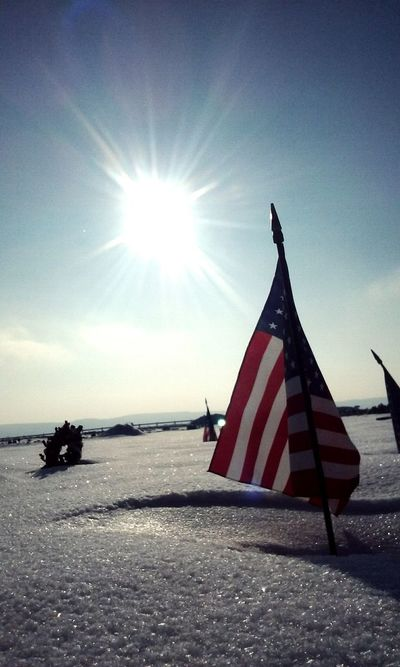 Flag Patriotism Symbolism No People National Icon Sky Sun Outdoors Day Stars And Stripes Cemetary Snow Cold Temperature Sunbeam Sunset_collection