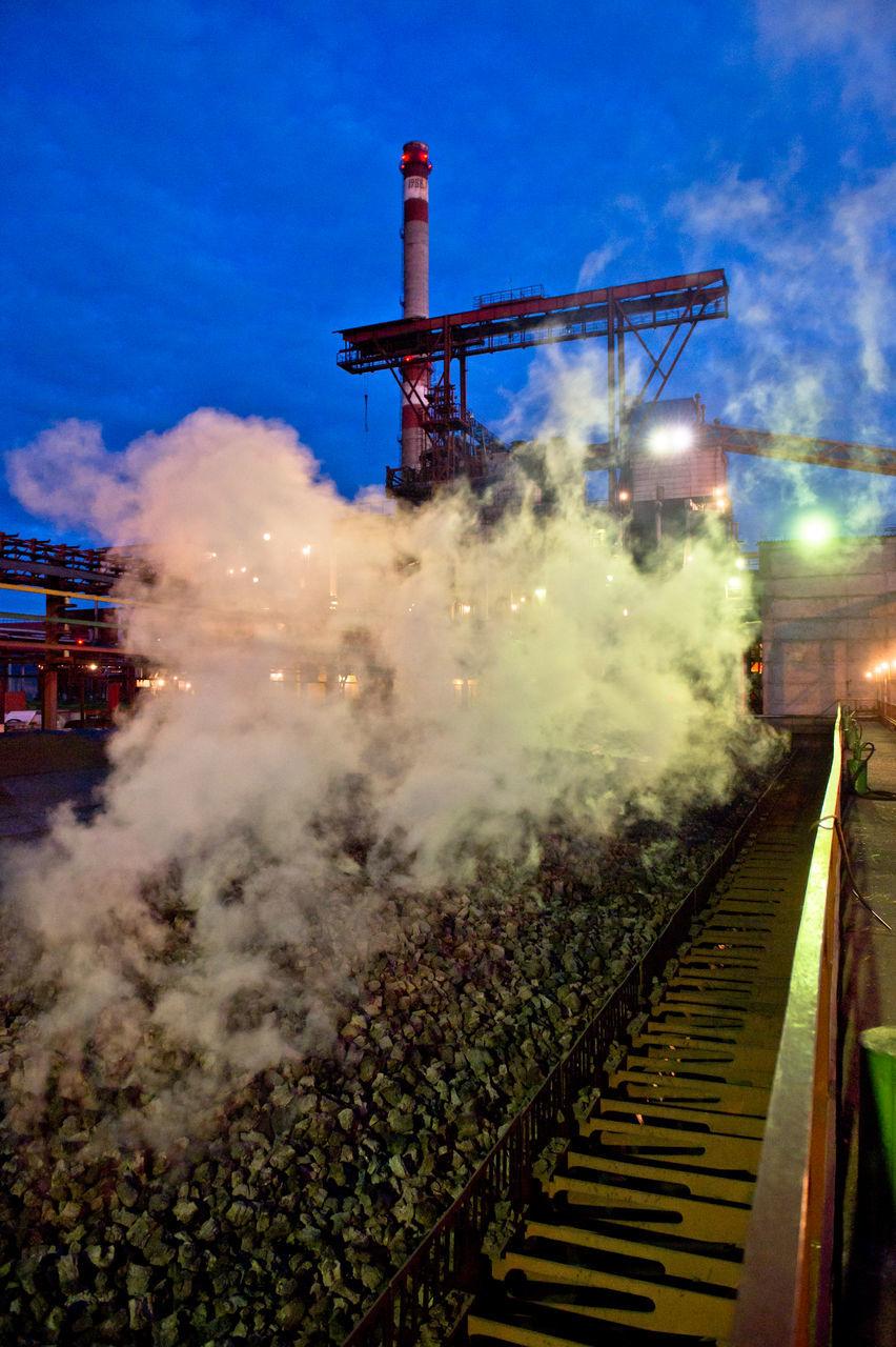 industry, outdoors, night, illuminated, sky, factory, no people