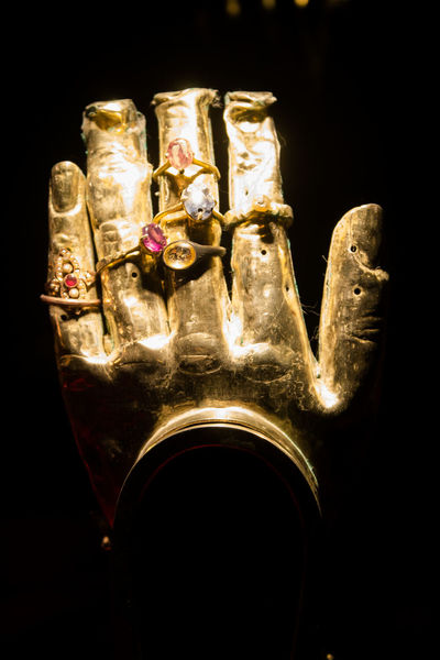 Archival Art Black Background Gold Gold Colored Hand No People Religion Reliques Statue