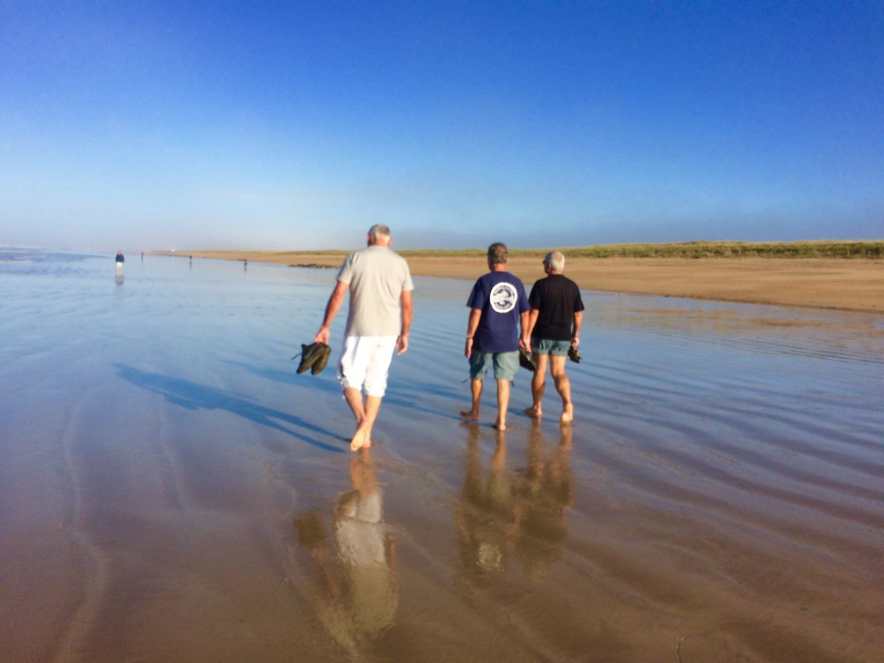 walking, rear view, nature, water, real people, sea, men, full length, outdoors, day, beach, togetherness, clear sky, sky, beauty in nature, people