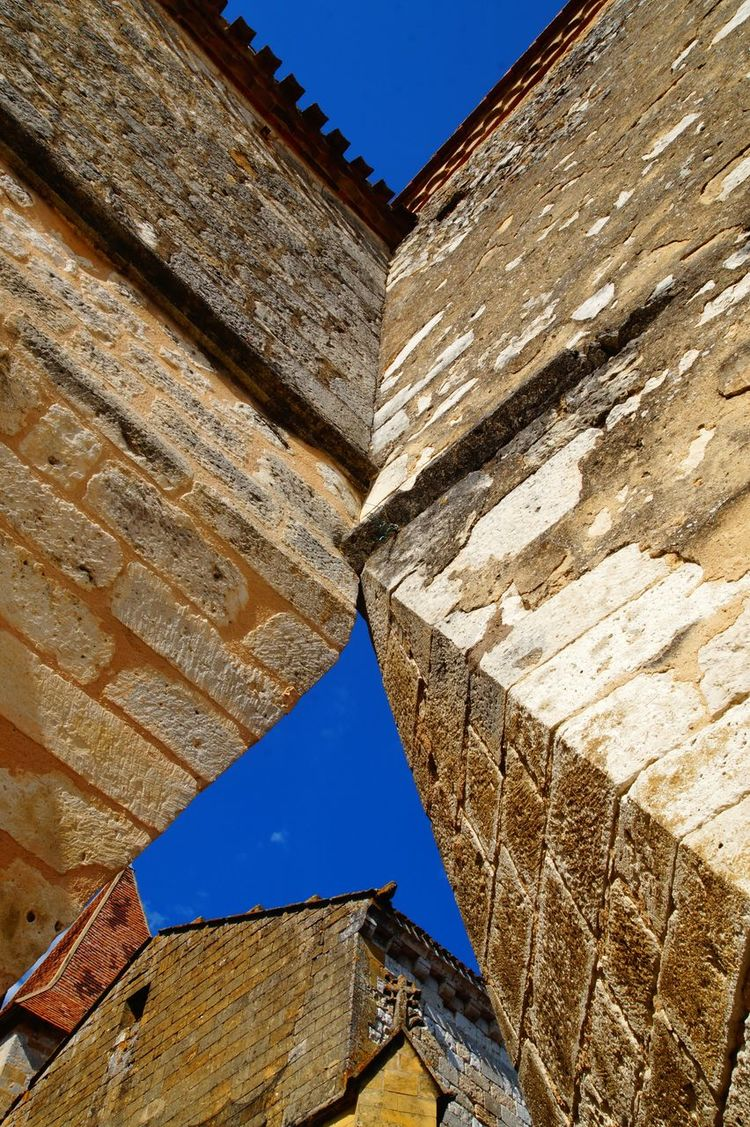 Architecture Church Historical Building Low Angle View Monpazier. France . Old Town Blue Sky Looking Up Medieval Old Buildings Stone Stone Material Summer Sunny Day Your Ticket To Europe The Week On EyeEm