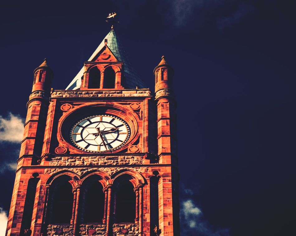 Time Clock Tower Clock Tower City Travel Destinations Clock Face Low Angle View Architecture Victorian Style 50mm F1.8 50mm Nikon Nikonphotography North Ireland Derrylondonderry Traveling Travel Photography First Eyeem Photo EyeEm Best Shots EyeEm Gallery Ireland Travelphotography Clear Sky Townhall