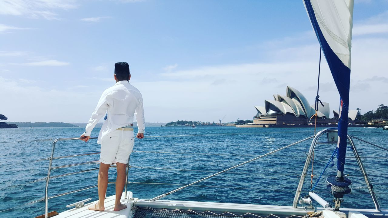 Rear View One Person Standing Sea Water Outdoors Nature Day Harbour View Harbour Life Boat Ride Harbour Yacht Summer Travel Destinations Relaxing Scenics Australia