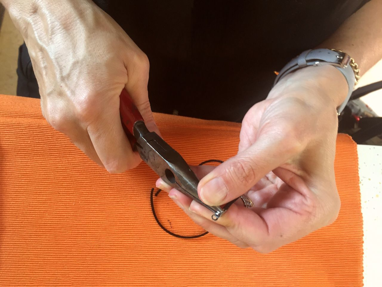 Jewelery Craft Human Hand Real People One Person Close-up Making Jewelry Artist Attaching Fixing Working Hands Pliers Hands At Work