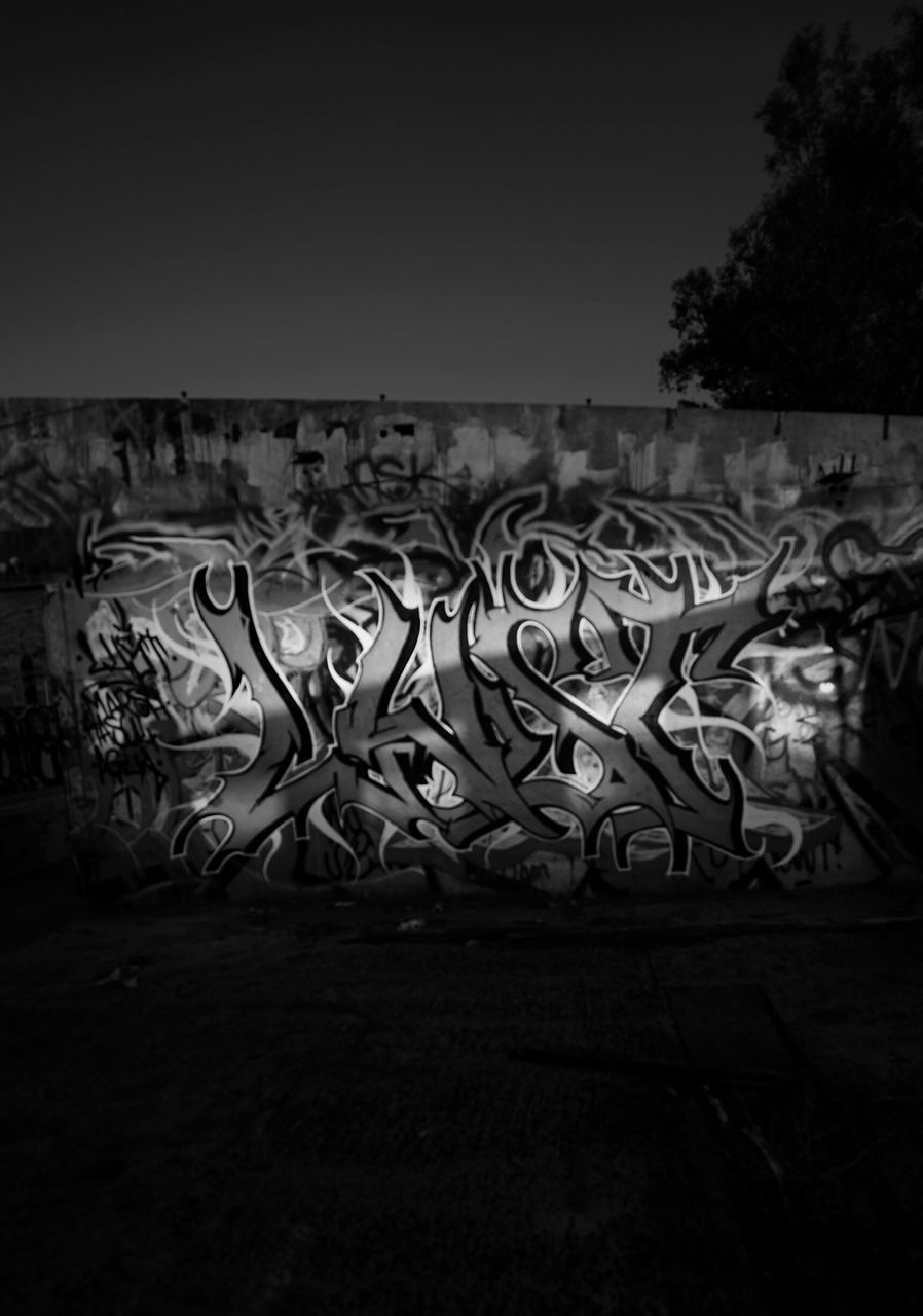 graffiti, art and craft, design, creativity, outdoors, no people, clear sky, night, architecture, sky, close-up