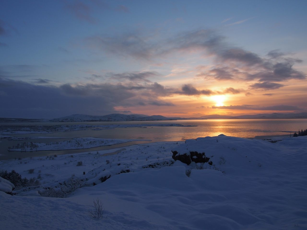 Beauty In Nature Winter Cold Temperature Nature Snow Sky Sunset Scenics Tranquil Scene Weather Tranquility Landscape Outdoors No People Day Iceland