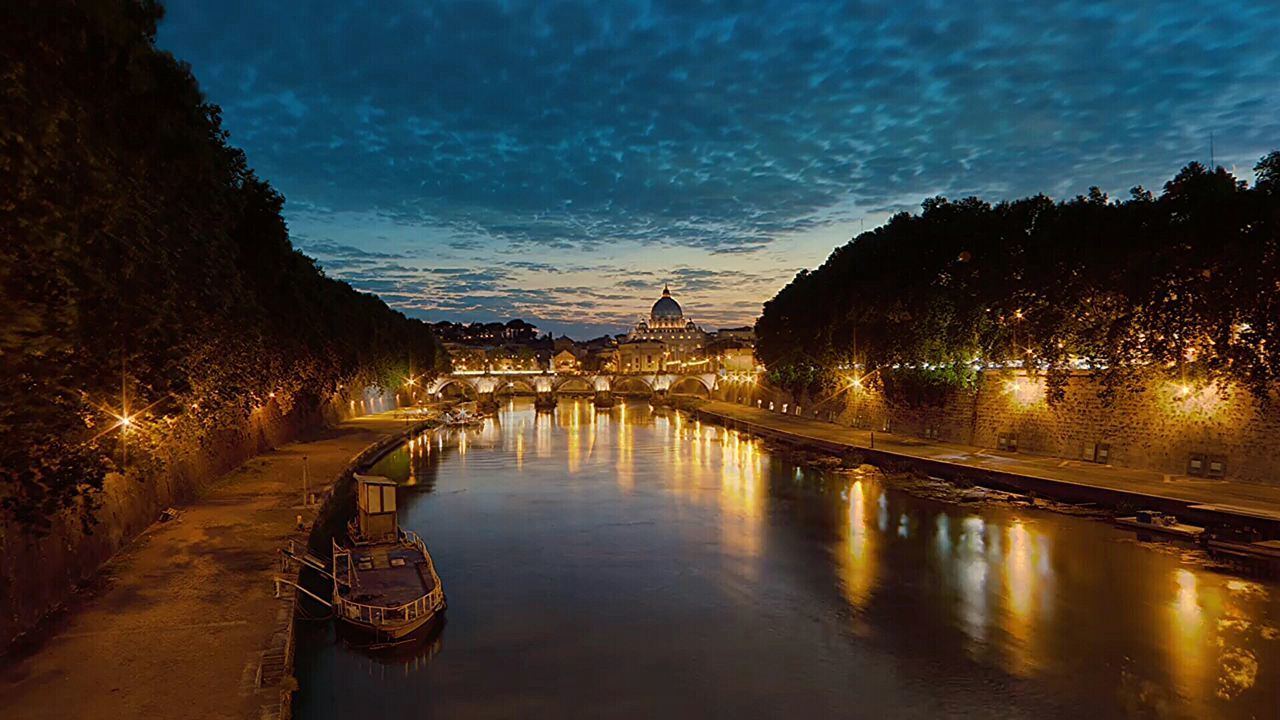 Sky Gold Colored Multi Colored Architecture Tourism History Cityscape Tevere Architecture_collection Colour Photography Rome By Night Ship Bridge Rome Tevere River Rome Italy🇮🇹 Rome, Italy Travel Destinations Travel Water Sunset Reflection