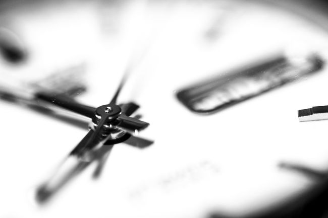 Black Black & White Black And White Blackandwhite Clock Clockwise Close Up Close-up Contrast Defocused Directly Below Extreme Close Up Extreme Close-up Focus On Foreground Indoors  Macro Monochrome Monochrome Photography No People Selective Focus Simplicity Single Object TakeoverContrast Time Watch