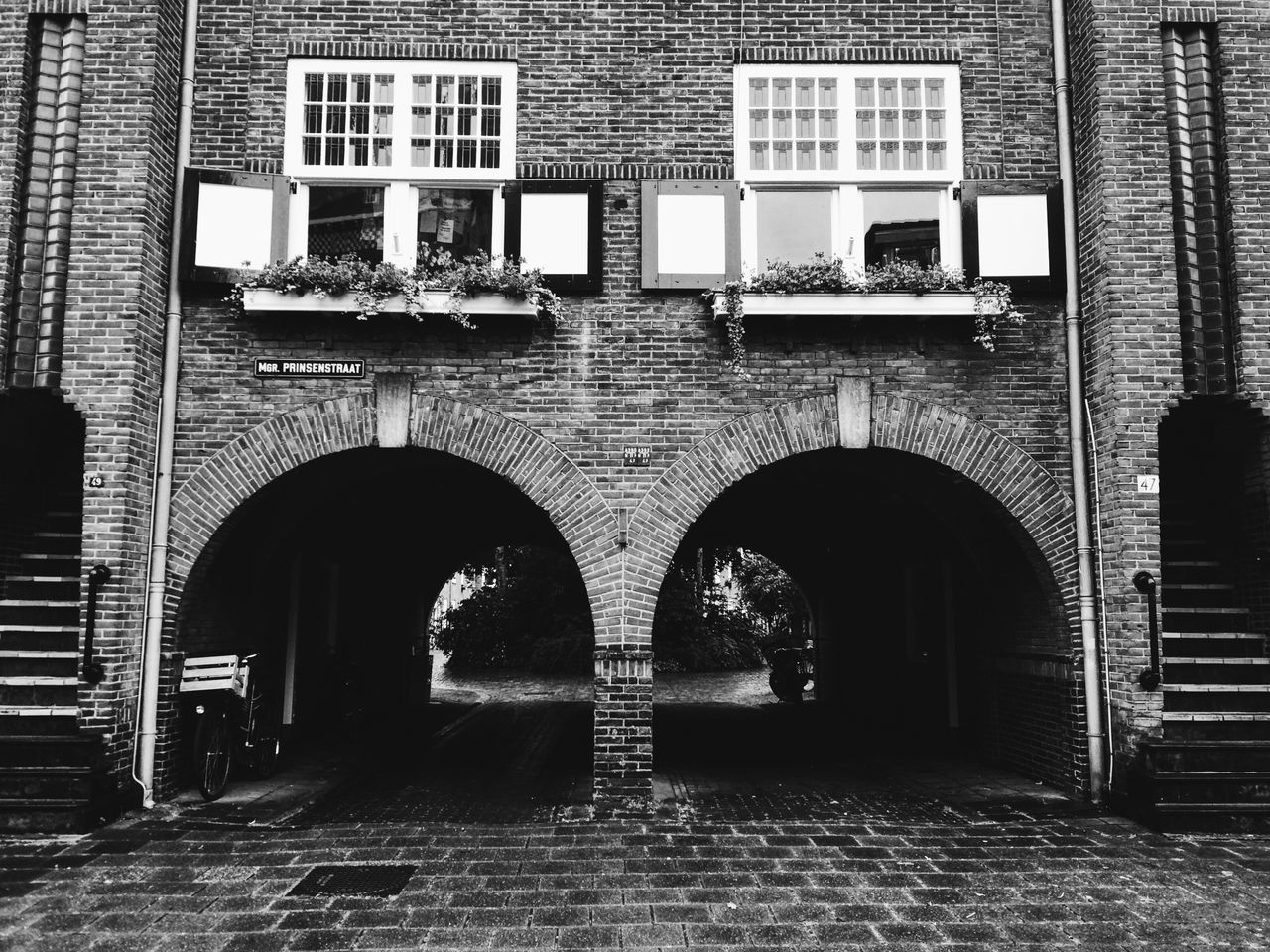 Architecture Architecture_collection Bow Dutch Architecture Walk Through Brick Wall Houses Houses And Windows City City Street Den Bosch The Netherlands Holland