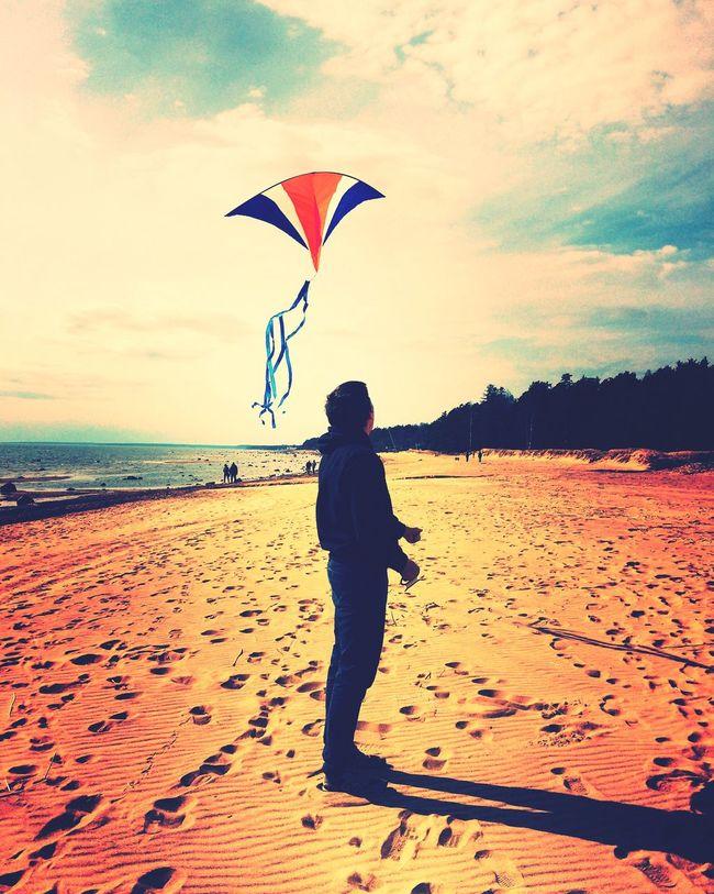 Beach Lifestyles Sea Sky Cloud - Sky Sand Men Playing Leisure Activity Rear View