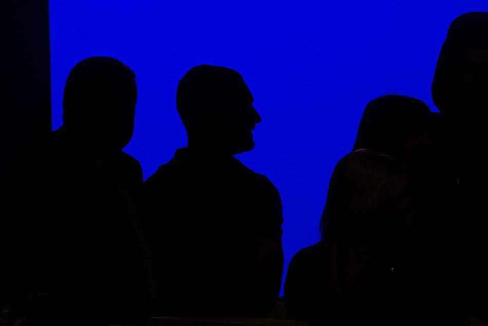 Silhouette of Davidelfin (C) at the informal presentation of the MBFW 2016 Madrid designers, Madrid, Spain. Black Blue Davidelfin Editorial  Fashion Designer Ifema Light Man Mbfw News People Shillouette Spanish Fashion