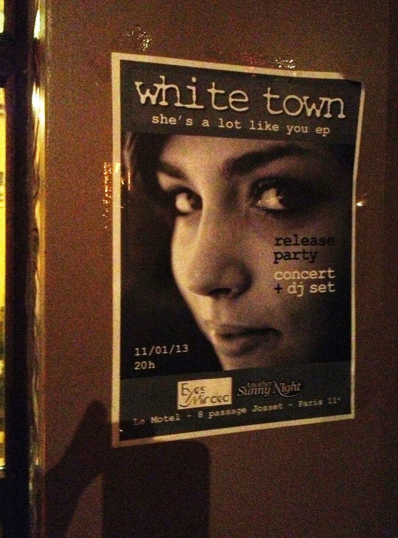 Single / gig poster at the venue.