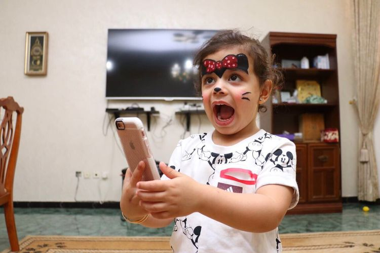 Childhood Indoors  Making A Face Portrait Girl Little Little Girl Face Face Painting Child Kid Mouth Open
