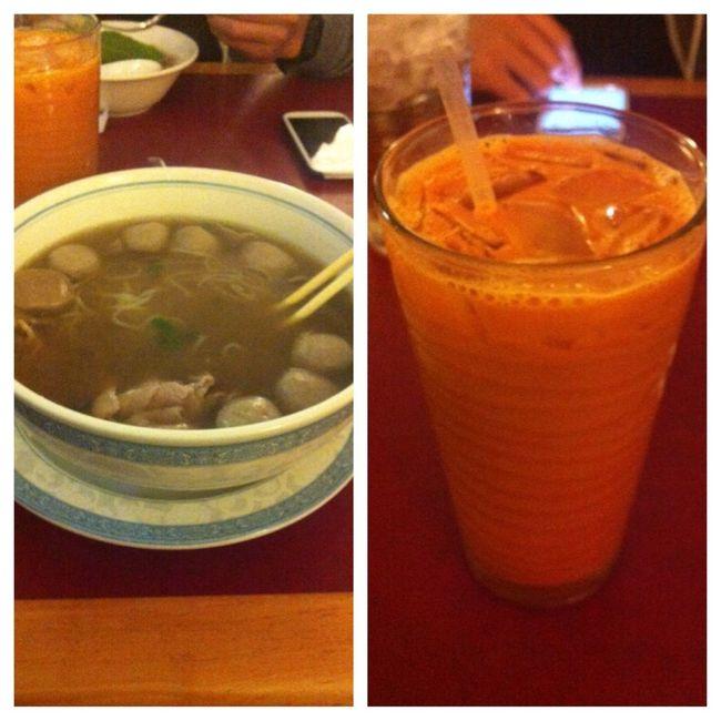 Pho and Thai tea for dinner :)