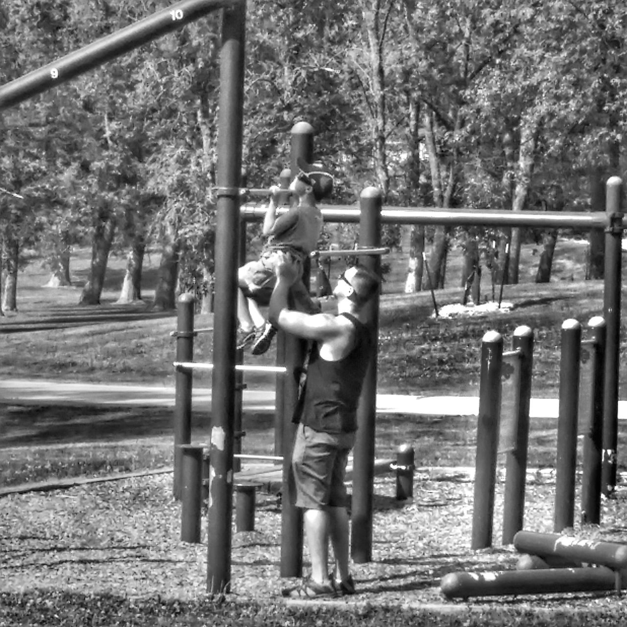 Father Son Fitness Bonding Park Nature Outdoors Priceless Black And White