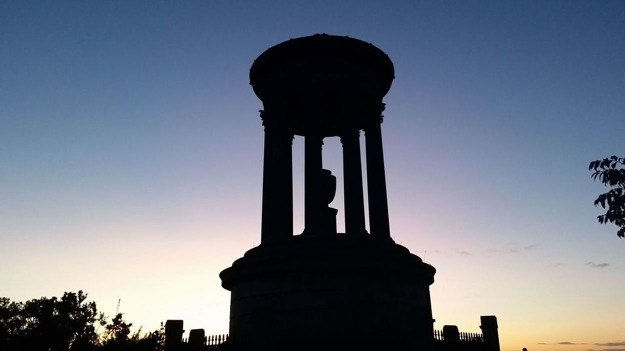 Calton Hill Edinburgh Scotland Architecture Dugald Stewart Monument History Monument No People Outdoors Silhouette Sky Sunset Uk