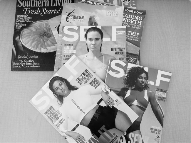 Self Magazines Abundance Collection Communication Food Freshness Indoors  Large Group Of Objects Magazine Cover Design Memories Message Overhead View People Photography Text Western Script